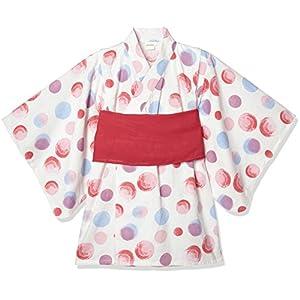 [タキヒヨー] 水玉柄浴衣風ワンピース ガールズ 342447211 ピンク 日本 90 (日本サイズ90 相当)