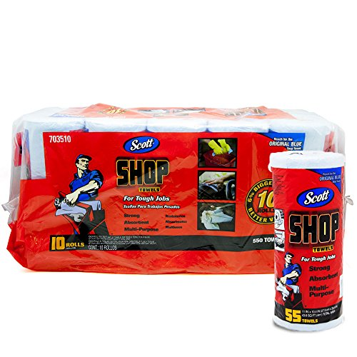 Scott (スコット) SHOP TOWELS / ショップタオル ブルーロール 55枚 10ロールセット(並行輸入品) 703510