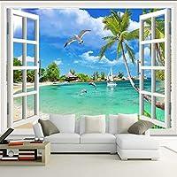 Xueshao カスタム写真壁紙ハワイ3Dウィンドウ風景寝室リビングルームソファテレビの背景壁カバー壁画壁紙用壁-200X140Cm