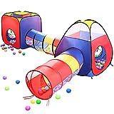 子供用テント EocuSun セット 折り畳み式 トンネル バスケットネット 収納バッグ付き 秘密基地 お誕生日 出産祝いのプレゼント (レッド)