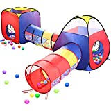 EocuSun 4pc Pop Up Children Play Tent w/ 2 Crawl Tunnel & 2 Tents - Kids Tents for Boys, Girls, Babies & Toddlers for Indoor & Outdoor - Large Children Playhouse Ball Pit w/ Storage Case