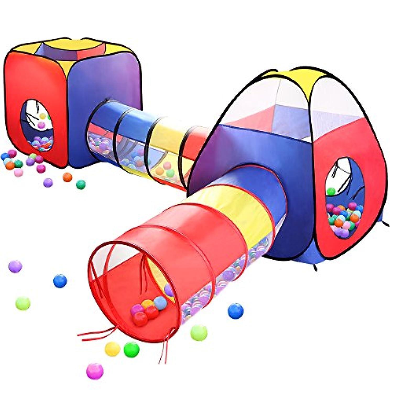 EocuSun 子供用テント セット 折り畳み式 トンネル バスケットネット 収納バッグ付き 改良版 秘密基地 お誕生日 出産祝い プレゼント