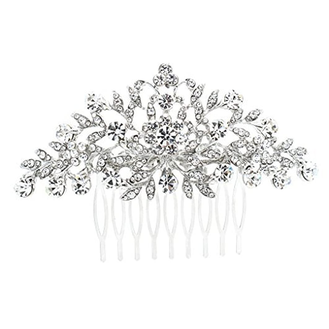 前置詞驚いたことに悲しいことにSEPBRDIALS Rhinestone Crystal Hair Comb Pins Women Wedding Hair Jewelry Accessories FA2944 (Silver) [並行輸入品]