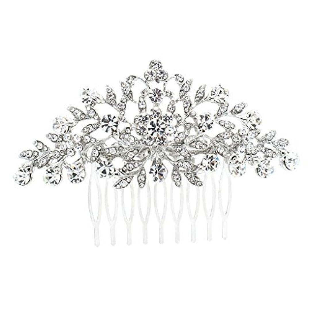 破壊する悪のセーブSEPBRDIALS Rhinestone Crystal Hair Comb Pins Women Wedding Hair Jewelry Accessories FA2944 (Silver) [並行輸入品]