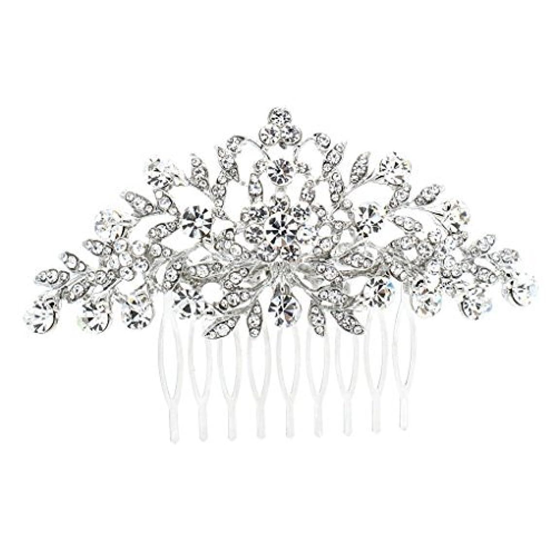 リスキーなクリーク半島SEPBRDIALS Rhinestone Crystal Hair Comb Pins Women Wedding Hair Jewelry Accessories FA2944 (Silver) [並行輸入品]