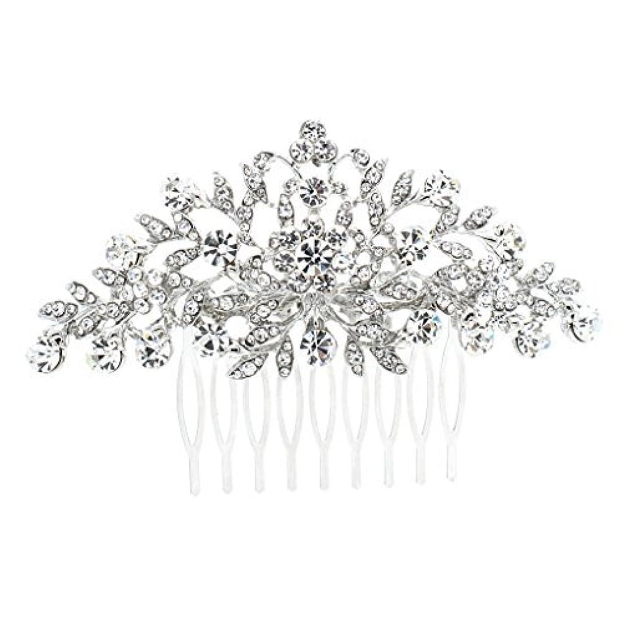 展開する王朝欠員SEPBRDIALS Rhinestone Crystal Hair Comb Pins Women Wedding Hair Jewelry Accessories FA2944 (Silver) [並行輸入品]