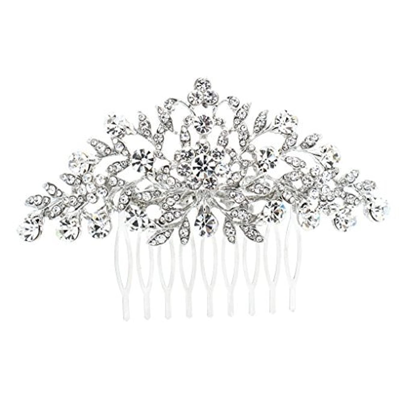 告発不調和勃起SEPBRDIALS Rhinestone Crystal Hair Comb Pins Women Wedding Hair Jewelry Accessories FA2944 (Silver) [並行輸入品]