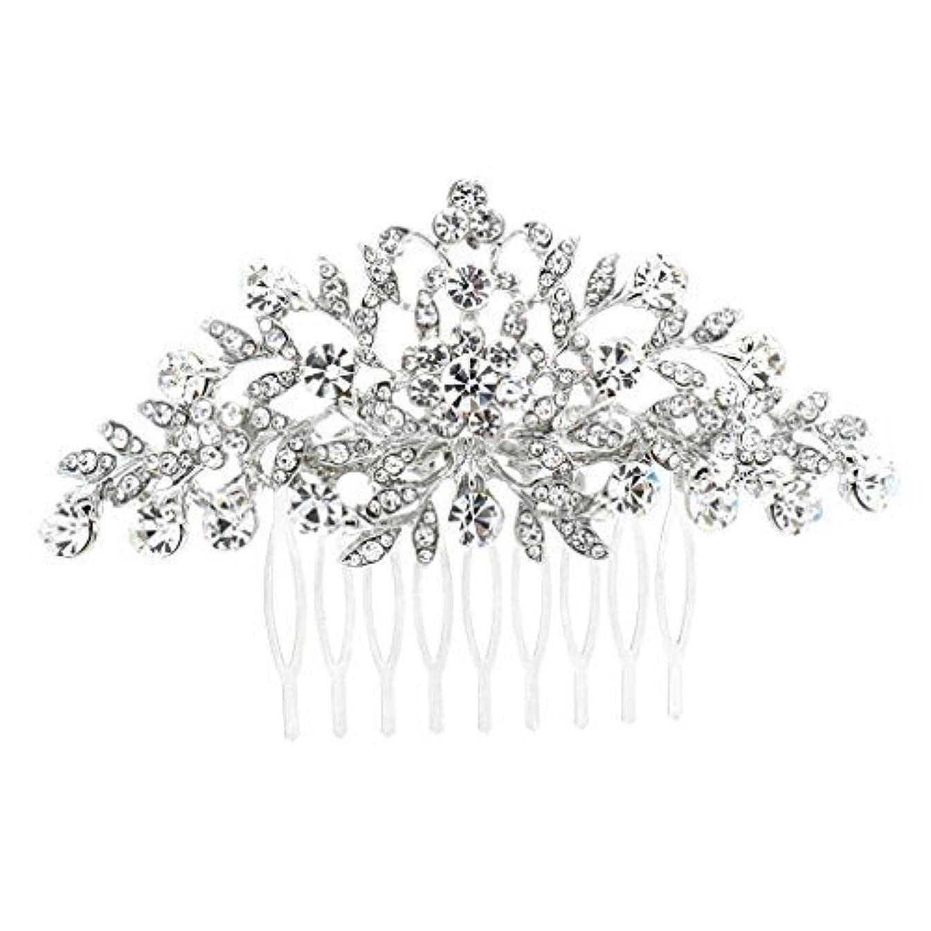 横傾向がある受け皿SEPBRDIALS Rhinestone Crystal Hair Comb Pins Women Wedding Hair Jewelry Accessories FA2944 (Silver) [並行輸入品]
