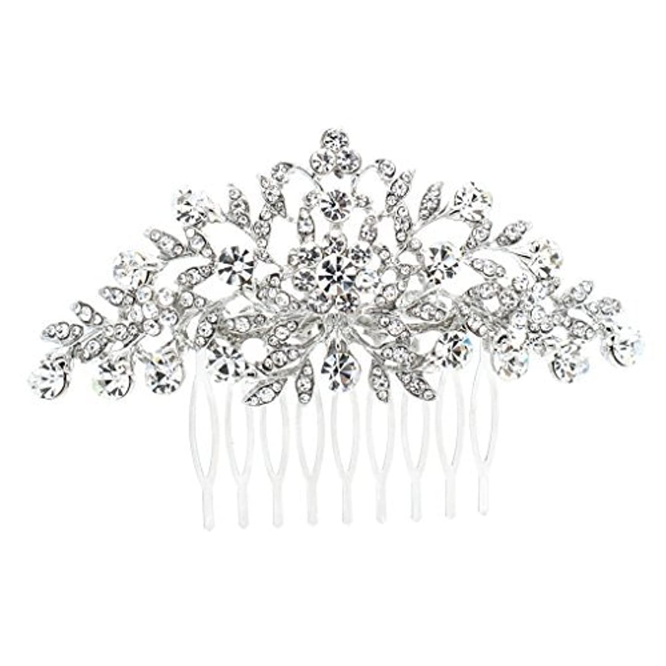 エコー端末思われるSEPBRDIALS Rhinestone Crystal Hair Comb Pins Women Wedding Hair Jewelry Accessories FA2944 (Silver) [並行輸入品]