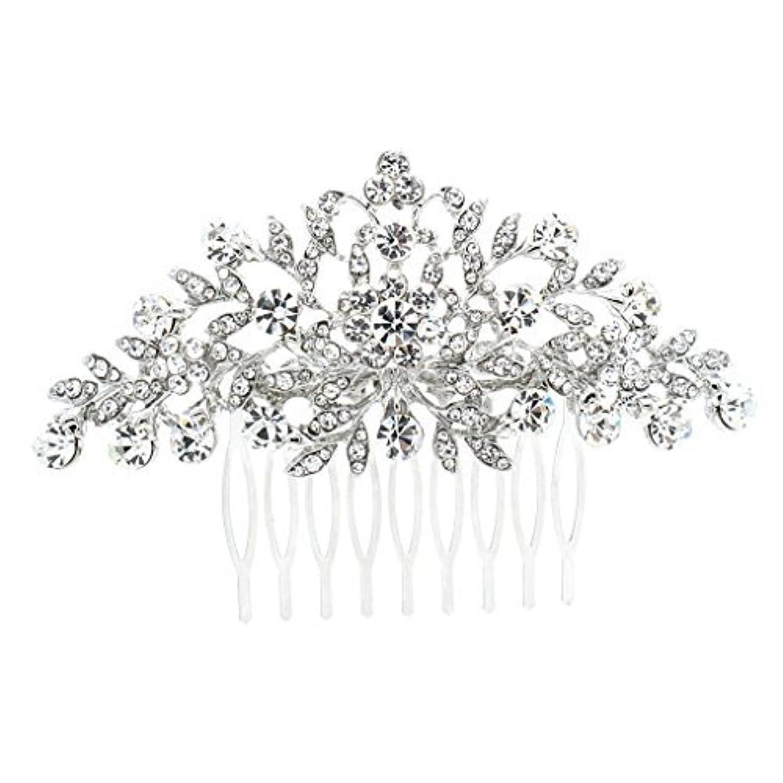 予想するリム刺繍SEPBRDIALS Rhinestone Crystal Hair Comb Pins Women Wedding Hair Jewelry Accessories FA2944 (Silver) [並行輸入品]