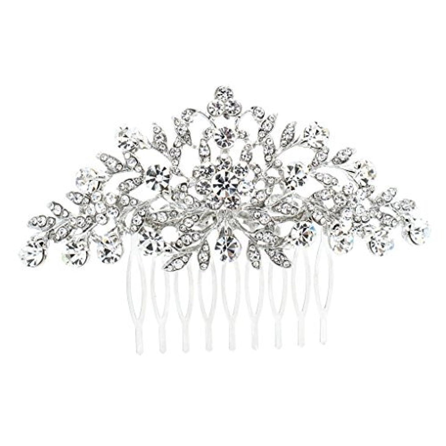 口述アフリカ年次SEPBRDIALS Rhinestone Crystal Hair Comb Pins Women Wedding Hair Jewelry Accessories FA2944 (Silver) [並行輸入品]
