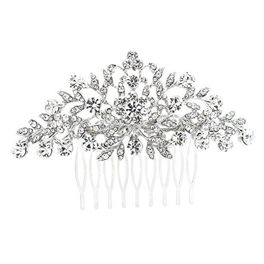 見る産地弱めるSEPBRDIALS Rhinestone Crystal Hair Comb Pins Women Wedding Hair Jewelry Accessories FA2944 (Silver) [並行輸入品]
