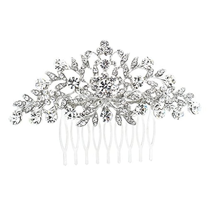 アカデミック読み書きのできない雑多なSEPBRDIALS Rhinestone Crystal Hair Comb Pins Women Wedding Hair Jewelry Accessories FA2944 (Silver) [並行輸入品]
