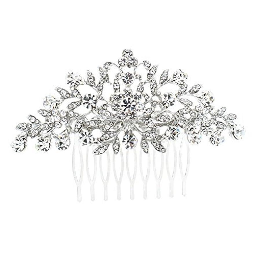エキゾチック降ろす古風なSEPBRDIALS Rhinestone Crystal Hair Comb Pins Women Wedding Hair Jewelry Accessories FA2944 (Silver) [並行輸入品]