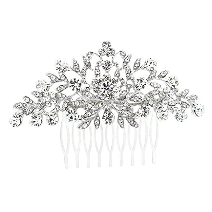 余剰アンテナ検出可能SEPBRDIALS Rhinestone Crystal Hair Comb Pins Women Wedding Hair Jewelry Accessories FA2944 (Silver) [並行輸入品]