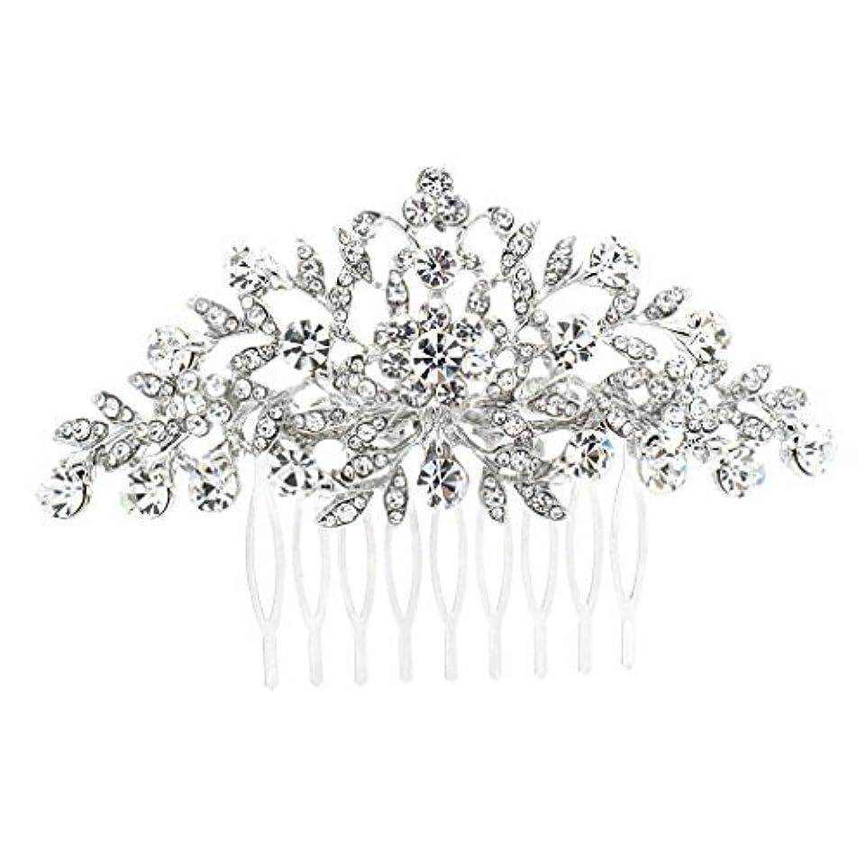 老朽化したネスト生SEPBRDIALS Rhinestone Crystal Hair Comb Pins Women Wedding Hair Jewelry Accessories FA2944 (Silver) [並行輸入品]