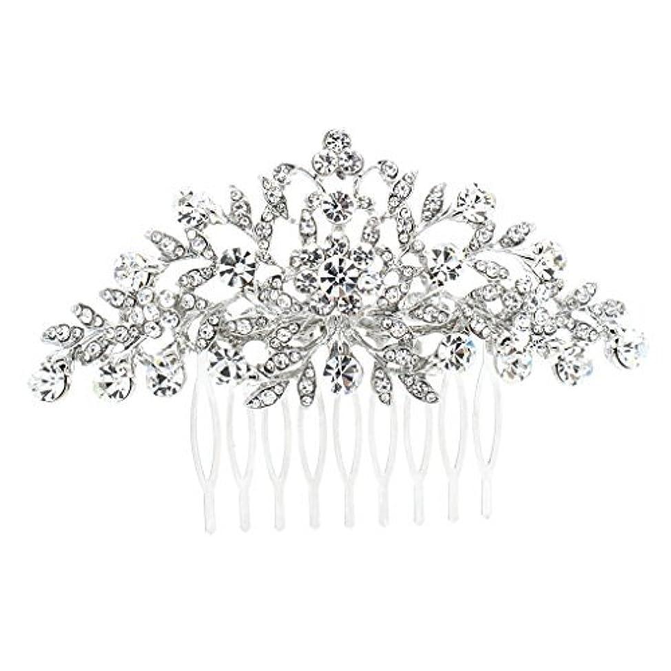導体ボート学部長SEPBRDIALS Rhinestone Crystal Hair Comb Pins Women Wedding Hair Jewelry Accessories FA2944 (Silver) [並行輸入品]
