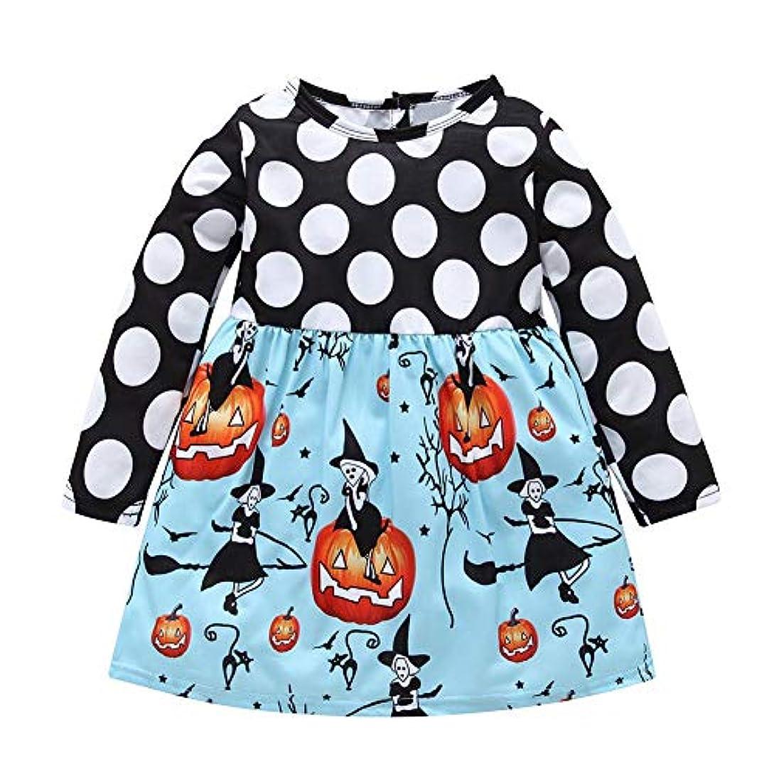 ストレージ着替える焦がすChaufly 子供服 ハロウィン ガールズ ポルカドット ロング スリーブ ドレス カボチャ プリント スプライ シング カラーファッション 服