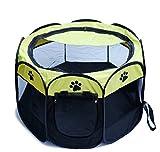 Smile-Life 折り畳み 式 ゲージ 犬 猫 メッシュ ペット サークル ハウス アウトドア用 テント 室内室外 ペットケージ コンパクト 大中小型 八角形 (イエロー)