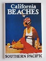 カリフォルニアビーチ旅行ポスター冷蔵庫マグネット( 2x 3インチ)