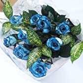 青いバラの花束10本国産薔薇に着色したブルーローズ結婚祝い、結婚記念日、誕生日プレゼントに