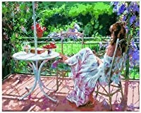 Dorara DIY oilペイントペイントby Number Hand Paintworks 16× 20インチ花瓶with the Girl seeing in the Garden