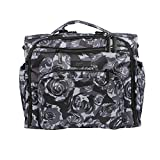 JuJuBe B.F.F Multi-Functional Convertible Diaper Backpack/Messenger Bag, Onyx Collection - Black Petals