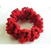 毛糸のシュシュ 手作り ラメラメ赤