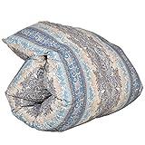 タンスのゲン 羽毛布団 シングルロング シルバーグースダウン 日本製 ダウン90% 350dp(かさ高145mm)以上 CILシルバーラベル 国内パワーアップ加工 消臭 抗菌 D柄ブルー 39100092 01 WS