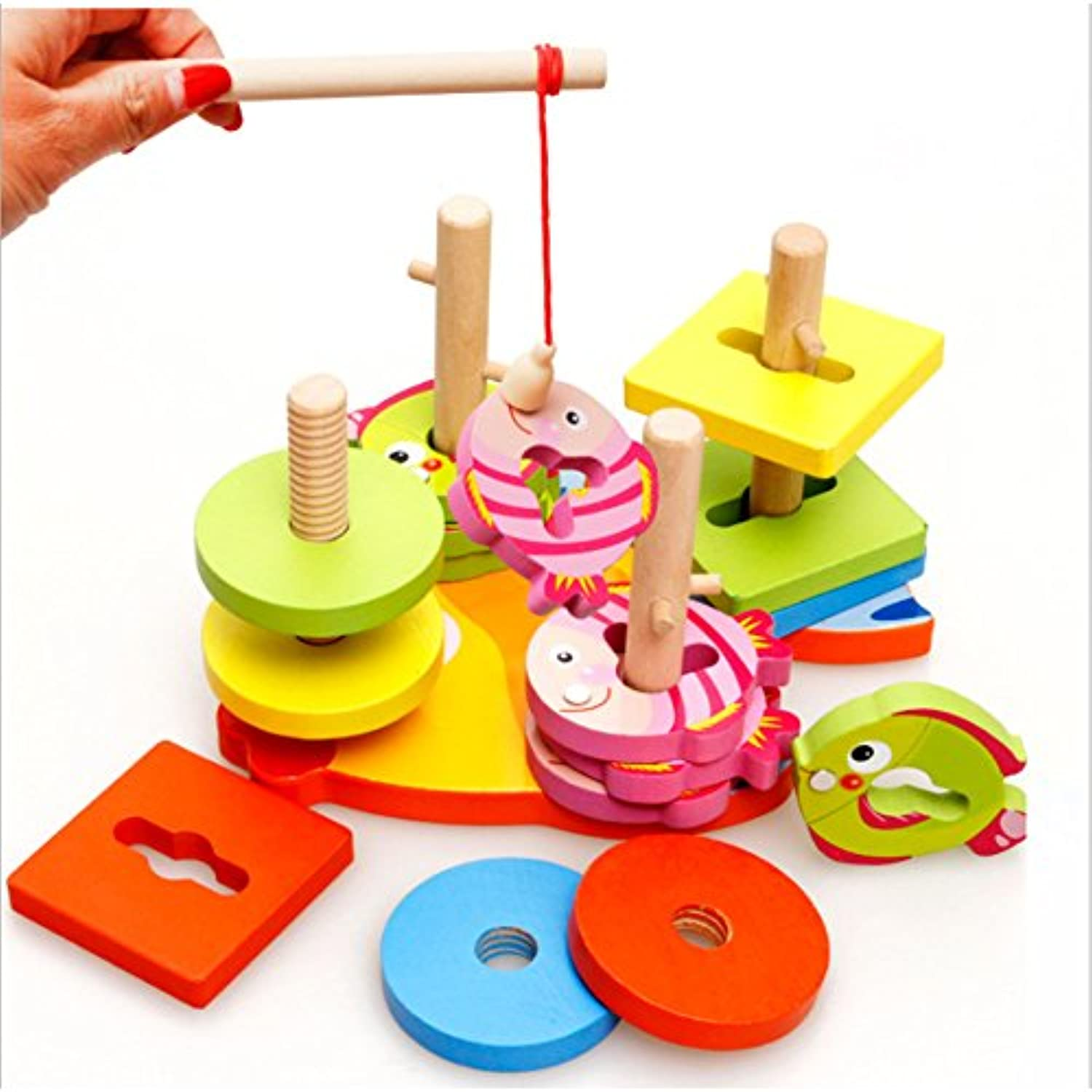 2 in 1磁気釣りゲームShape Sorting Peggedパズル木製教育玩具ギフトfor Kids Toddlers