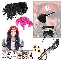 [XPデザイン] 海賊 盗賊 パイレーツ ターバン ウィッグ 仮装 なりきり クチヒゲ あごひげ コスチューム (レッド ターバン)