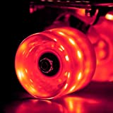 LED スケートボード ウィール Skateboard Wheels 59x45mm 4個セット(レッド)【Wonnv】