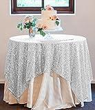 ShinyBeautyスパンコールレセプションテーブルクロス50x 50inchカラースパンコールオーバーレイ、正方形誕生日ケーキテーブルクロス 50x50Inh シルバー Sequin tablecloth 50x50Inh