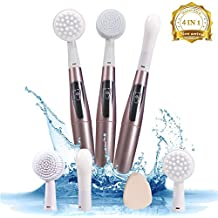 Multifunctional Electric Vibration Sonic Facial Cleansing Brush Skin Exfoliating System Deep Cleansing, Facial and Eye Massage IPX7 Waterproof Function with 4 interchangeable head personal care (Pink)