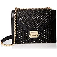 Michael Kors 30S9GWHL3T-001 Whitney Large Studded Leather Convertible Shoulder Bag, Black