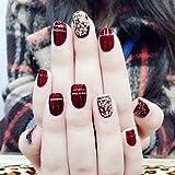 XUTXZKA ファッションワインレッド偽爪24ピースショートオーバルスパンコールの装飾フェイク人工爪のヒントステッカー