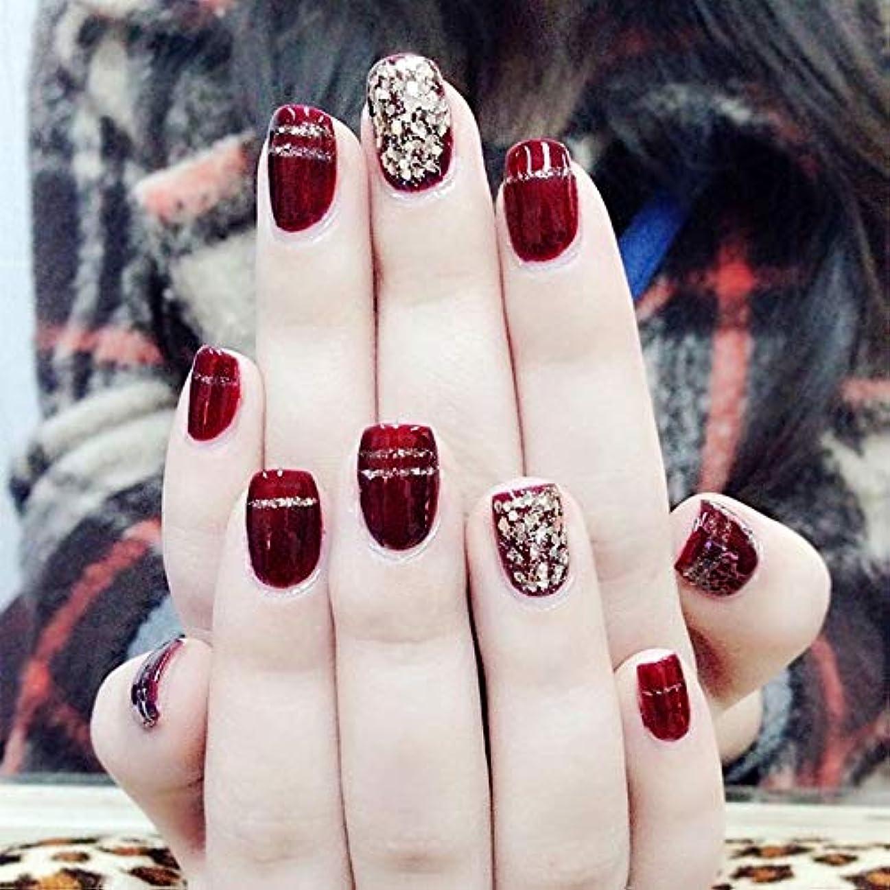 プレビュー桃ほとんどないXUTXZKA ファッションワインレッド偽爪24ピースショートオーバルスパンコールの装飾フェイク人工爪のヒントステッカー
