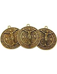 Set of 3 St Benedict Medal 1 1 / 4インチブロンズトーンメタルSaintペンダント