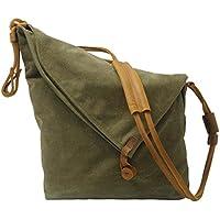 VRIKOO Vintage Canvas Crossbody Bag Casual Crazy Horse Leather Gym Shoulder Messenger Bags for Men and Women