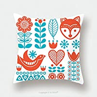 カスタムサテン枕カバープロテクターフィンランドInspired Folk ArtパターンScandinavian北欧スタイル519491428枕ケースカバー装飾用