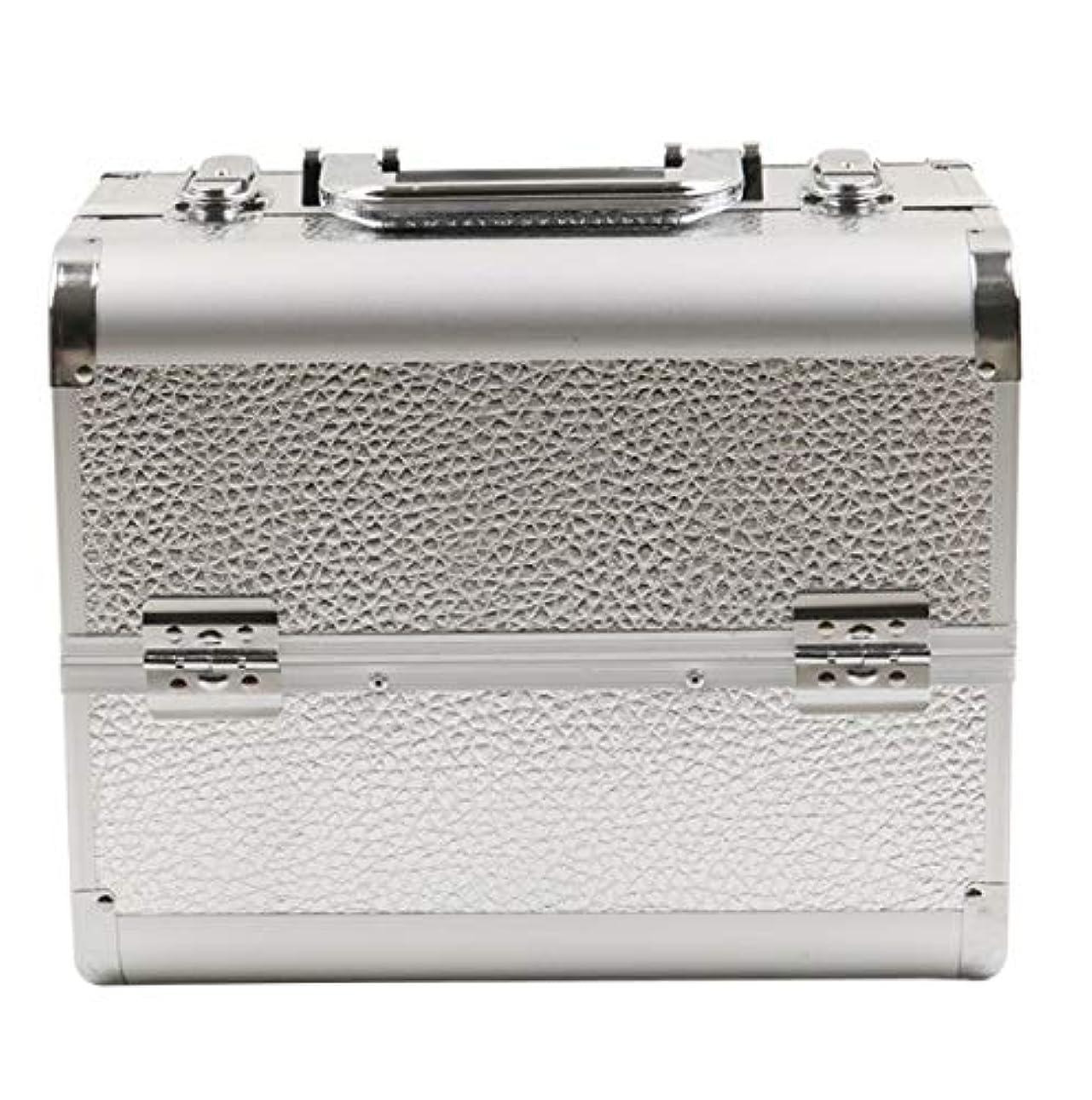 アセンブリバレーボールガチョウ化粧品ケース、シルバーアルミ多層化粧品バッグ、ポータブル旅行多機能化粧品ケース、美容ネイルジュエリー収納ボックス