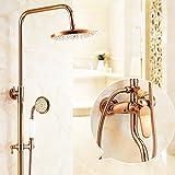 LJ ヨーロッパスタイルローズゴールドシャワーシャワーセット浴室すべての銅のホットとコールドタップ