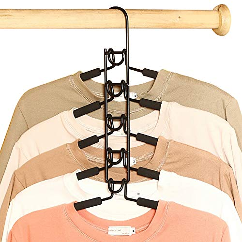 YouMai ハンガー 省スペース5段着脱式 衣類収納 ハンガー すべらない 頑丈なスチール製 錆びにくい 5本組 コート スカード 洋服 綺麗に収納ハンガー (ブラック)
