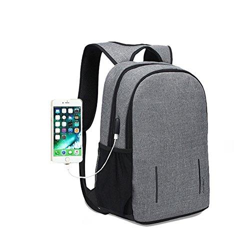 リュック メンズ ビジネスリュックバック 15.6インチ耐衝撃PCバックパック USB充電ポートとスマホ固定用吸盤付き 防水 通勤 通学 盗難防止