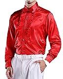 ds5094 メンズ 男性用 シャツ ワイシャツ Yシャツ ドレスシャツ 舞台 演出服 シャイニー 光沢 フリル 赤 (40)