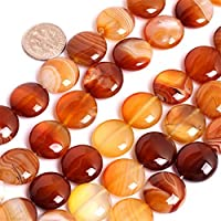 Natural Coin Botswana Agate Gemstone Loose Beads In Bulk For Jewelry Making Wholesale Beads One Strand 15 1/2 (16mm/multicolored) [並行輸入品]
