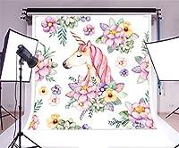laeaccoビニール8x 8ft写真背景水彩画Backdropカラー花春Blossoms Leavesキュートユニコーンパターン子供赤ちゃん誕生日パーティーデコレーションビデオStudio小道具