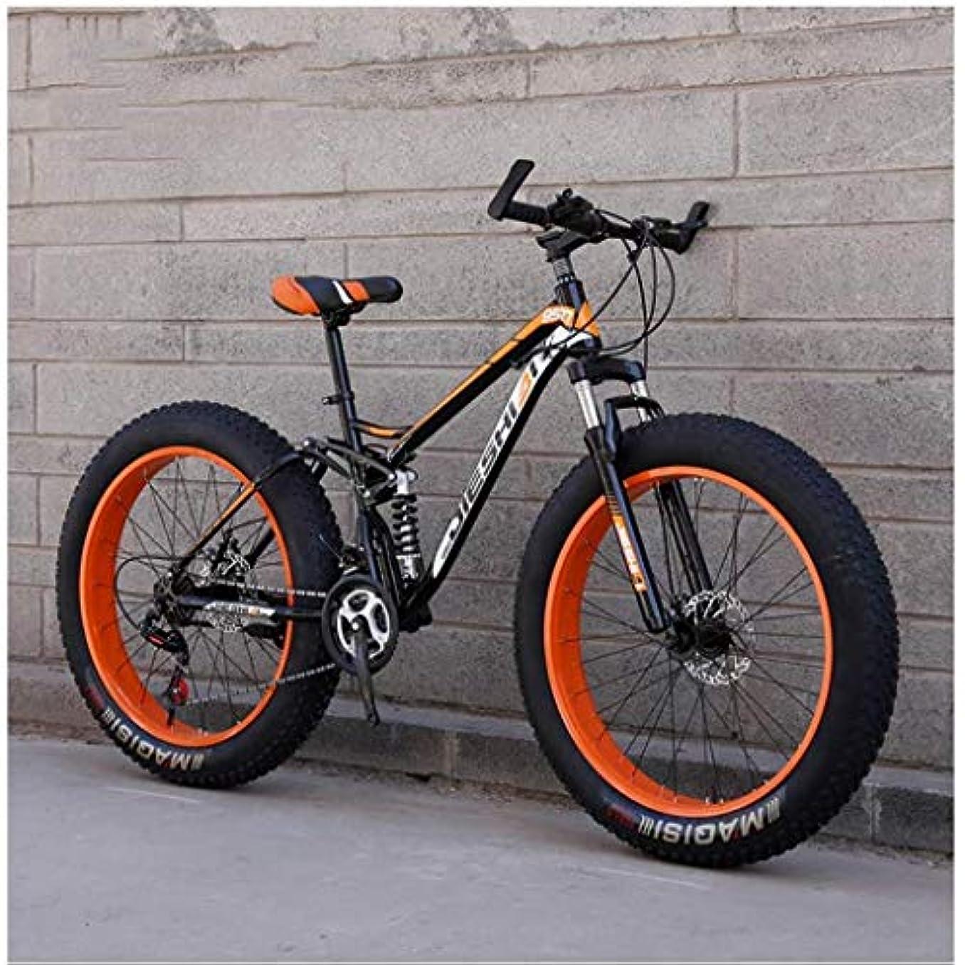 悪因子酸っぱいバレエ大人のマウンテンバイク、ビッグホイールダブルディスクブレーキファットタイヤバイクMTB剛性スチールフレーム、高炭素MTB男性/女性,Orange,26 Inch 24 Speed