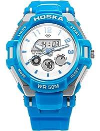 子供用腕時計 アナログ表示 キーズ ウォッチ アラーム ストップウォッチ 曜日 日付表示 男の子 女の子 兼用 アウトドア (水色)