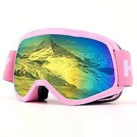 スキーゴーグル、子供の雪ゴーグルスノーボードoverメガネゴーグル男性、女性、ユースまたは–uv400保護と曇り止め–2グレー球状レンズforスケートスキー